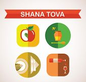 six icons for Rosh Hashana, Jewish holiday.