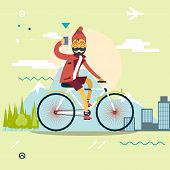pic of geek  - Travel Lifestyle Concept of Planning a summer Vacation Tourism and Journey Symbol Man Geek Hipster with Mobile Phone Bike Forest City Modern Flat Design Icon Template Vector Illustration - JPG