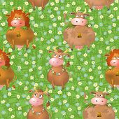 Seamless pattern, cartoon cows on a meadow
