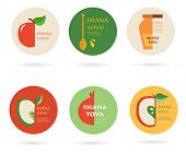Set of labels and cards for Jewish holiday Rosh Hashana (New Year).
