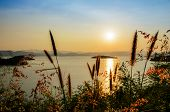 picture of chan  - High angle view beautiful lake at sunset on the Kaeng Kra Chan Dam view point in National Park Phetchaburi Province Thailand - JPG