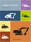 Digging machinery in set of Metro styled icons. Editable vector illustration.