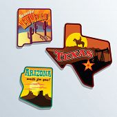 United States vector illustrations Texas, Arizona, Mew Mexico