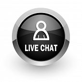 live chat chrome glossy web icon
