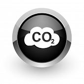 carbon dioxide chrome glossy web icon