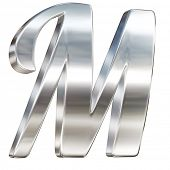 Letter M from chrome solid alphabet isolated on white