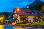 HOHENSCHWANGAU, GERMANY - 19 JUNE 2014: Bavarian architecture of Hohenschwangau village at Neuschwan