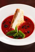 cheesecake with berry sauce