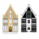 19th century town house vector illustration. Town house from late 19th century, color and monochrome