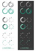 Vector illustration of loading icons on white and grey background