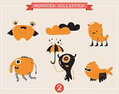 cute monsters, creatures, freaks, doodles, set of vector illustrations