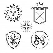 Vintage medieval symbols linear style design elements
