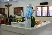 KOLKATA, INDIA - FEB 07, 2014: Tomb of Blessed Teresa of Calcutta, commonly known as Mother Teresa (26 August 1910�¢�?�?5 September 1997), was Catholic missionary who lived for most of her life in India