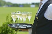 TSELEEVO, MOSCOW REGION, RUSSIA - JULY 26, 2014: Waiter holds the tray with champagne for the guests