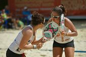 MOSCOW, RUSSIA - JULY 19, 2014: Woman double of France in the match against Belarus during ITF Beach