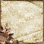 The Paper Vintage Background With Hearts And Flowers.