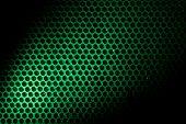 Bubble wrap lit by green light