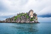 image of sky diving  - Tropical rock islands for diving against blue sky Southern of Thailand - JPG