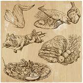 Food Around The World, Hand Drawn Vector Set