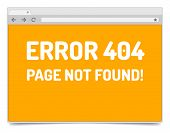Page 404 Error On Opened Internet Browser Window With Shadow.