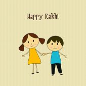 stock photo of rakhi  - Beautiful greeting card design for Happy Rakhi celebration with cute little boy sister and brother holding hands - JPG