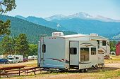 stock photo of extend  - RV Fifth Wheel Camping - JPG