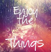 Inspirational Typographic Quote - Enjoy the little things