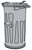 stock photo of dustbin  - Hand drawing of a classic metal dustbin - JPG