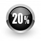 20 percent black chrome glossy web icon
