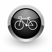 bicycle black chrome glossy web icon