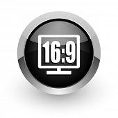 16 9 display black chrome glossy web icon