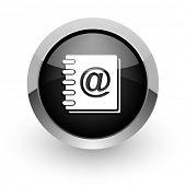 address book black chrome glossy web icon