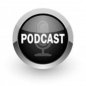 podcast black chrome glossy web icon