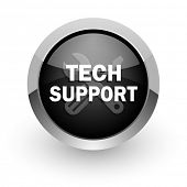technical support black chrome glossy web icon