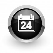 calendar black chrome glossy web icon