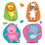 Set of four funny cute cartoon character of wild animal like, lion, zebra, elephant and hippopotamus on beige background.
