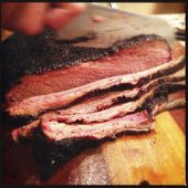 stock photo of smoke  - Instagram Filtered Image of Smoked Brisket Close Up - JPG