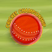 Stylish red ball for Cricket Championship on green background.