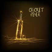 Shiny golden bat with ball on brown background for Cricket Fever.