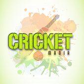 image of cricket bat  - Stylish text Cricket Mania with bat and ball on color splash background - JPG
