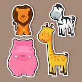 Cute animal sticker or label with lion, hippopotamus, giraffe and zebra.