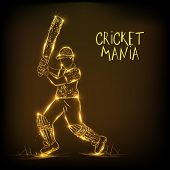 Golden illustration of batsman in playing action for Cricket Mania on brown background.