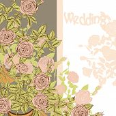 Wedding Card With Hand Drawn Roses