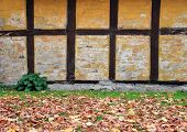 Worn Half-timbered Cottage House Wall In Autumn