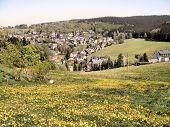Village in the Erzgebirge in spring