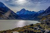 picture of hookers  - Hooker glacier lake in Aoraki National Park New Zealand - JPG