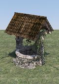 stock photo of wishing-well  - 3D digital render of an old wishing well on blue sky background - JPG