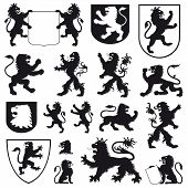 pic of lions-head  - Some types of heraldic lions and heraldic shields - JPG