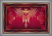 Chinese Carpet With Vintage Celtic Gold Pattern Over Red Background In Vector