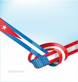 Cuba And Usa Flag On Background poster